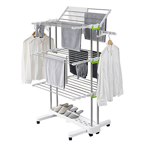 Stainless Steel Folding Drying Rack, Three-layer Mobile Towe