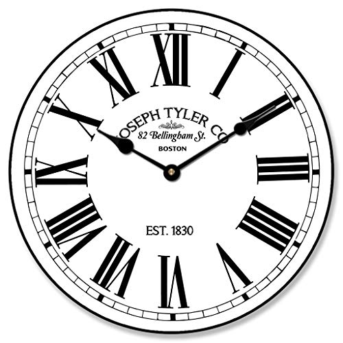 (Hamilton White Wall Clock, Available in 8 Sizes, Most Sizes Ship 2-3 Days, Whisper Quiet.)