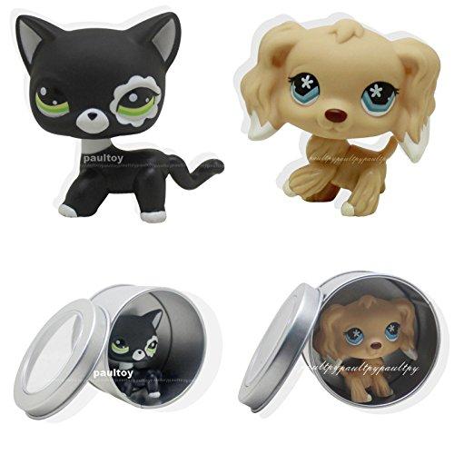 tongrou 2pcs #2249 #748 Littlest Pet Shop Cocker Spaniel Puppy Dog black cat LPS Rare
