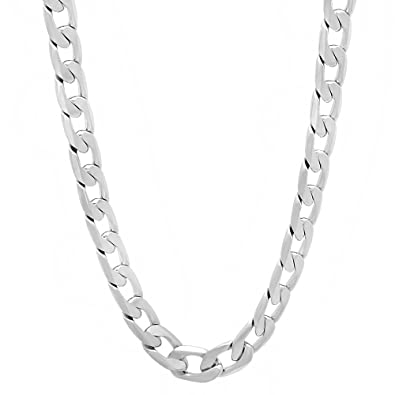 The Bling Factory 6mm Rhodium Plated Flat Concave Cuban Curb Flat Link Chain Bracelet Microfiber Jewelry Polishing Cloth