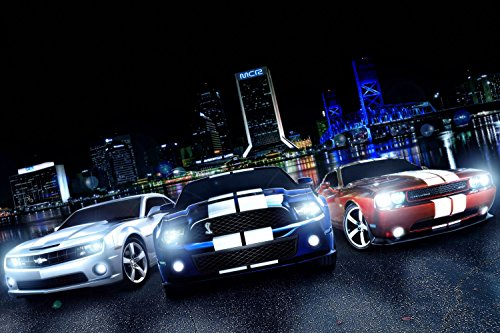 Chevrolet Camaro Ford Mustang Cobra Dodge Challenger SRT Poster 24x36 (Poster Camaro)