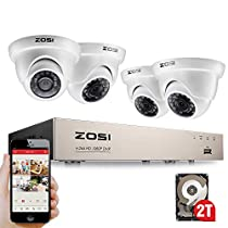 ZOSI Security Camera System 8 Channel Full 1080P HD-TVI CCTV DVR Recorder with (4) HD 2.0MP 1080p Outdoor Indoor Bullet Cameras and Dome Surveillance Cameras with 100ft Night Vision, 2TB Hard Drive