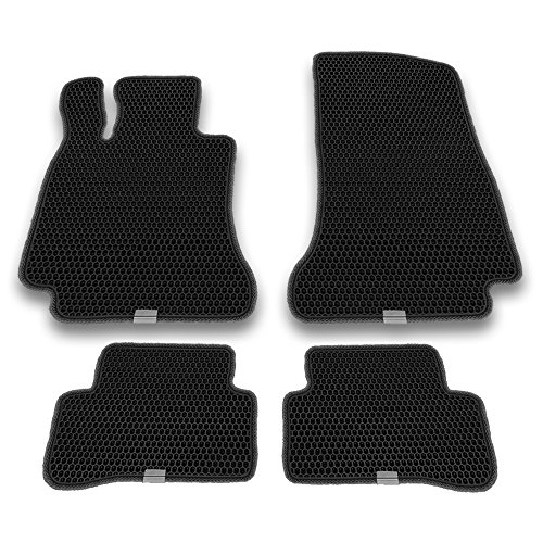 Motliner Floor Mats, Custom Fit with Dual Layered Honeycomb Design for Mercedes-Benz C-Class 2015-2018. All Weather Heavy Duty Protection for Front and Rear. EVA Material, Easy to (Acetate 100 Gels)