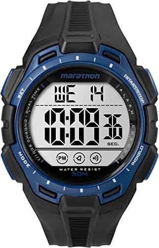 Marathon by Timex Men's TW5K94700 Digital Full-Size Black/Blue Resin Strap Watch
