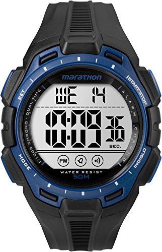 (Marathon by Timex Men's TW5K94700 Digital Full-Size Black/Blue Resin Strap Watch)
