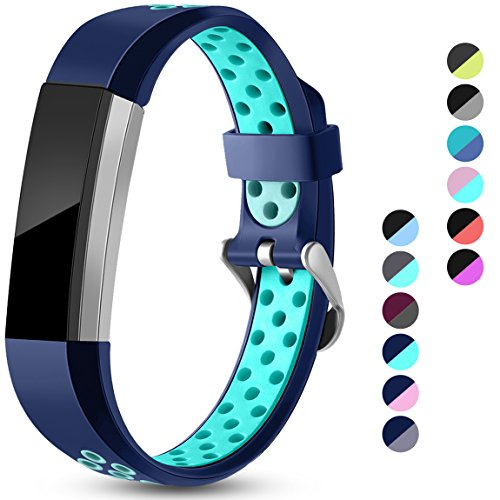 Maledan Replacement Bands Compatible for Fitbit Alta, Fitbit Alta HR and Fitbit Ace, Accessory Sport Bands Air-Holes Breathable Strap Wristbands with Stainless Steel Buckle, Blue/Teal, Small