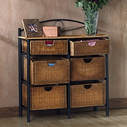 Storage Chest With Wicker Basket Drawers For Linens Or Kitchen Accessories.  Shelf Unit Use It
