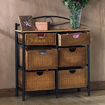 Amazoncom Storage Chest with Wicker Basket Drawers for Linens or