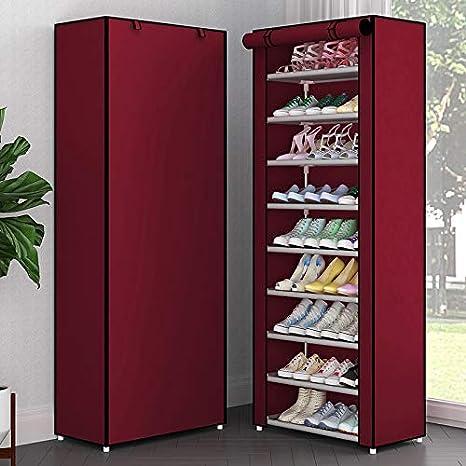 Simple M/últiples Capas Zapatero Oxford Tela Galvanizado Tubo Montado Armario de Almacenamiento para Muebles para El Hogar Organizador de Zapatos de Pasillo