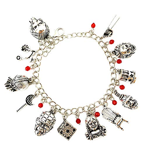 Athena Brands Annabelle Saw Devil's Rejects Fashion Novelty Charm Bracelet Movie Horror Series with Gift Box