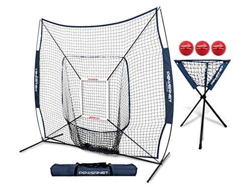 PowerNet DLX Combo 6 Piece Set for Baseball Softball (Navy) | 7x7 Practice Net Bundle w/Strike Zone, Ball Caddy + 3 Weighted Training Balls | Team or Solo Training | Hitting & Throwing