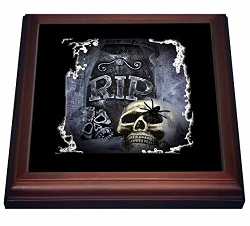 3dRose trv_28314_1 Grave Marker and Skull Halloween Skull Design Trivet with Ceramic Tile, 8
