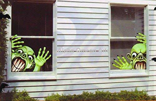 Set of 2 Creepy Frankenstein Window Mural Reusable Halloween Decor -