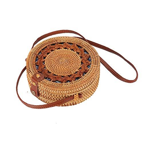 Rattan Boho Purse Handwoven Straw Bag (blue floral flower ()