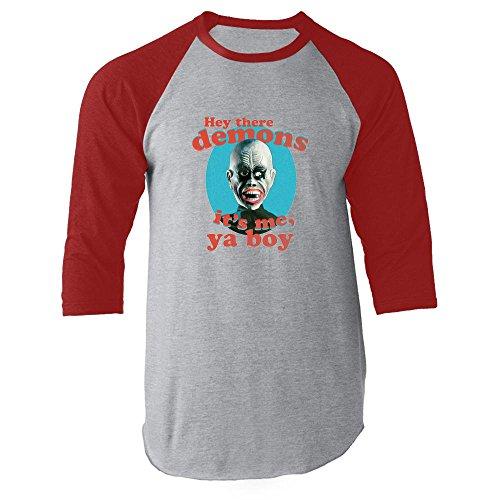 - Hey There Demons It's Me Ya Boy FunnyHalloween Costume Horror Memes Clothing Funny Vintage Retro Red M Raglan Baseball Tee Shirt