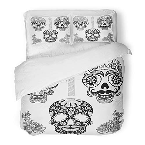 Emvency Bedding Duvet Cover Set Twin (1 Duvet Cover + 1 Pillowcase) Zentangle Patterned Skulls Candle Roses for Halloween Adult Coloring Pages Freehand Hotel Quality Wrinkle and Stain Resistant ()