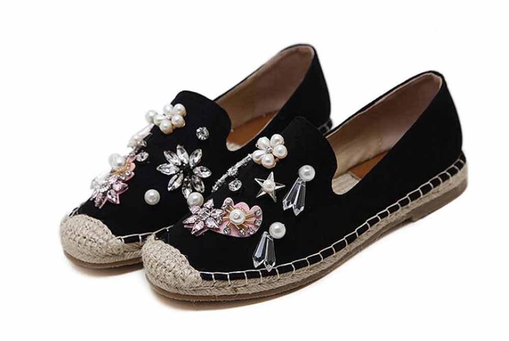 Frauen Flache Schuhe Wasser Diamant Blaumen Perlen Samt Flache Fischer Schuhe