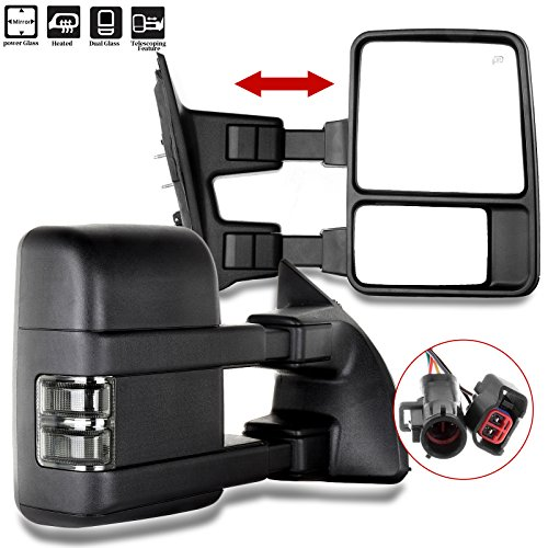 SCITOO Side Mirrors, Towing Mirrors fit Ford Super Duty Automotive Exterior Mirrors fit 1999-2002 F250 F350 F450 F550 Super Duty Power Adjusted Heated Manual Telescoping Features No Signal