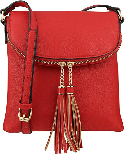 B BRENTANO Vegan Medium Flap-Over Crossbody Handbag with Tassel Accents - Flap Medium Handbag
