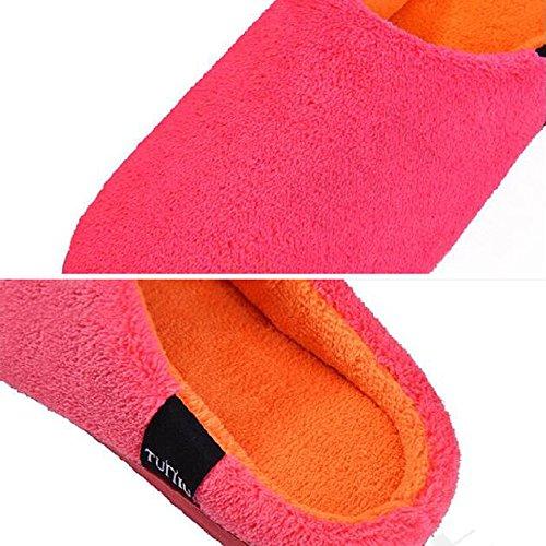 Para Mujer Zapatillas Damas Interior Plana Tacón Bajo Invierno Zapatillas Terciopelo Coral Rojo