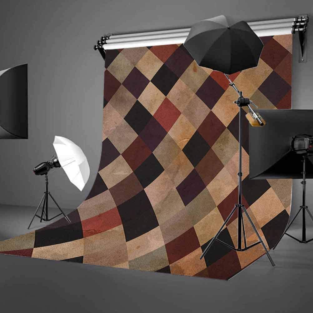 8x12 FT Grunge Vinyl Photography Backdrop,Antique Looking Checkered Pattern in Brown Tones Vintage Grid Artistic Aged Display Background for Baby Birthday Party Wedding Graduation Home Decoration