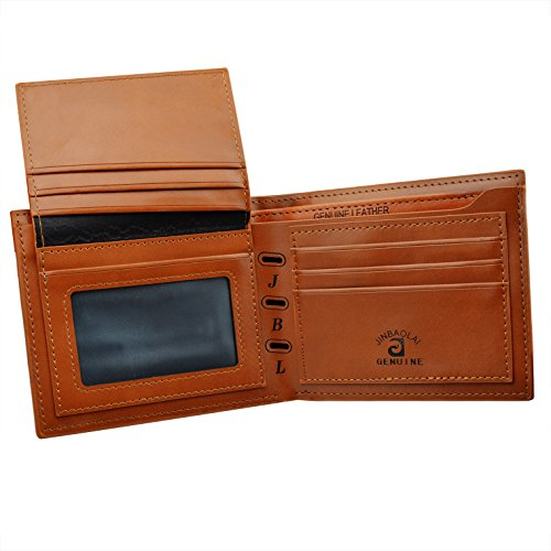 Rbenxia Stylish Brown Billfold Coffee Leather Wallet Credit Card Men Purse Clutch Bifold PU Leather Wallet with Card Slots and ID Window Slot Gifts Souvenir