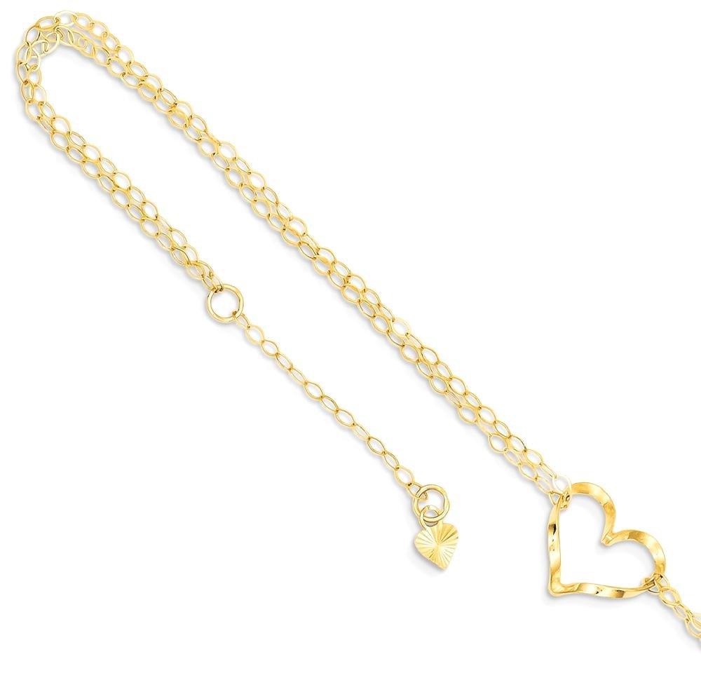 ICE CARATS 14k Yellow Gold Double Strand Heart 9 10 Adjustable Chain Plus Size Extender Anklet Ankle Beach Bracelet Fine Jewelry Gift Set For Women Heart