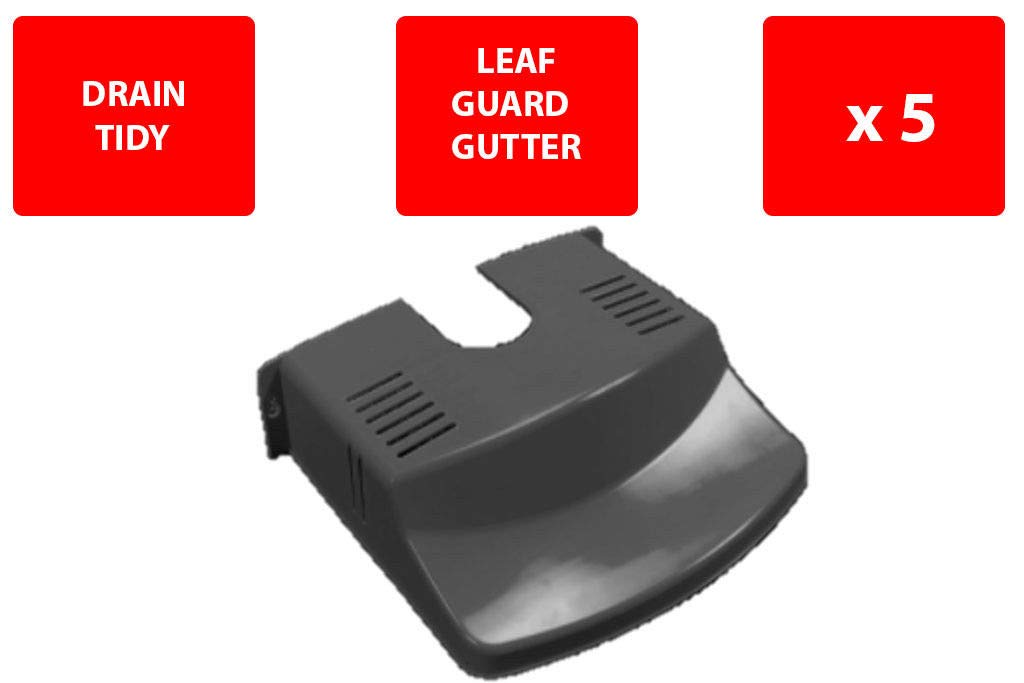 VISS 5 X DRAIN COVER - PLASTIC - DRAIN TIDY - LEAVES - BLACK - GUARD GUTTER - STRONG