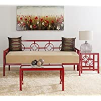 Modern Medallion Style Metal Twin Daybed (Day Bed)- Available in White, Brown, Red or Green Finish
