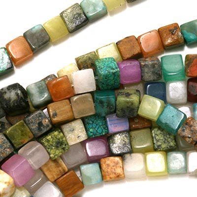 Gemstone Cube (Gemstone Cube Bead Mix 4 x 4mm Beads /15.5 Inch Strand)