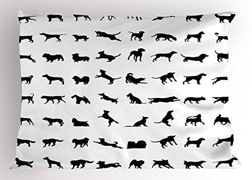Lunarable Black and White Pillow Sham, Different Silhouettes Dogs Various Breeds Corgi Golden Retriever Pitbull, Decorative Standard Size Printed Pillowcase, 26 X 20 inches, Black White