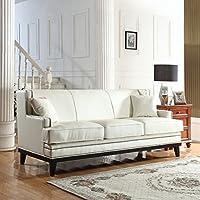 modern bonded leather sofa with nailhead trim detail white - White Leather Sofa