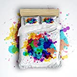 Beauty Decor Bedding 4 Piece bed Set Duvet Cover,colorful Graffiti 4 Piece Bed Sheet Set 1 Flat Sheet 1 Fitted Sheet and 3 Pillow Cases