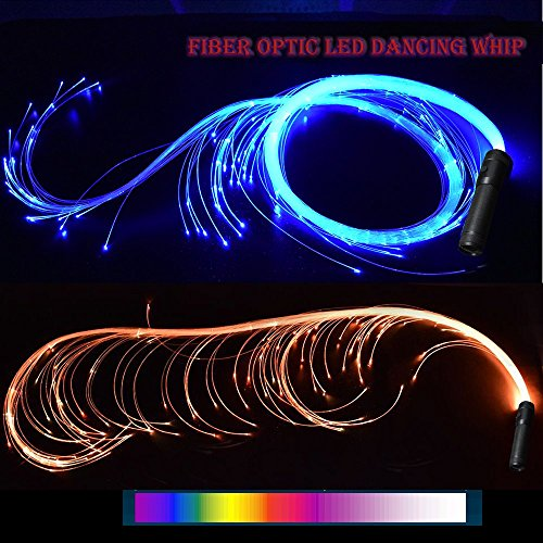 COMLZD 2 Pack Fiber Optic Dance Whip Light-up Led Lights Rave Party for Dancing Party Favor
