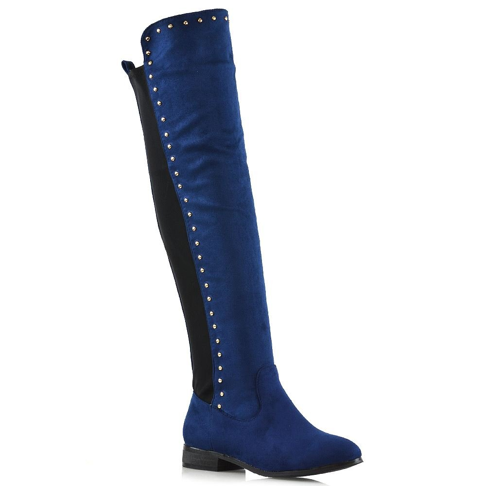 ESSEX GLAM Over The Knee Boots Navy Faux Suede Gold Stud Trim Stretchy Casual Flat Boots 10 B(M) US