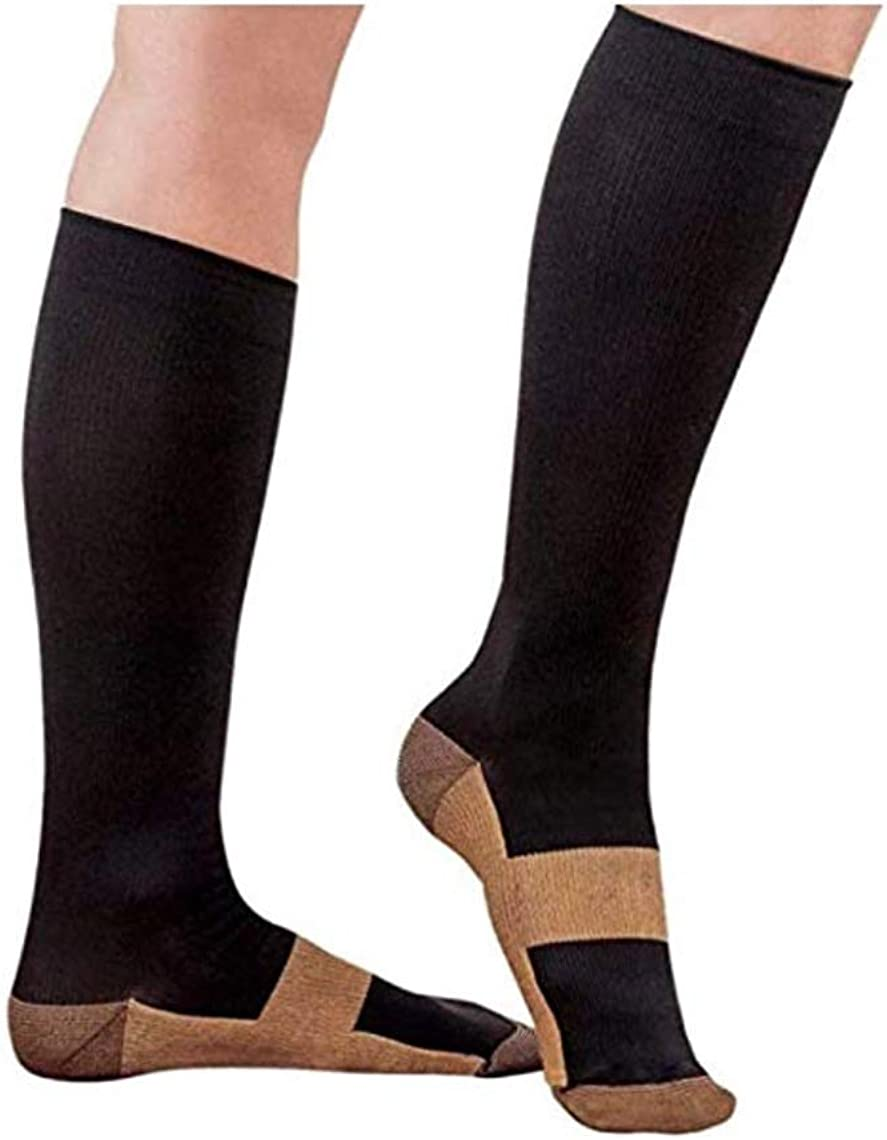 Copper Compression Socks For Men and Women 15-20mmhg Knee High (Black, Lagre/XLarge)