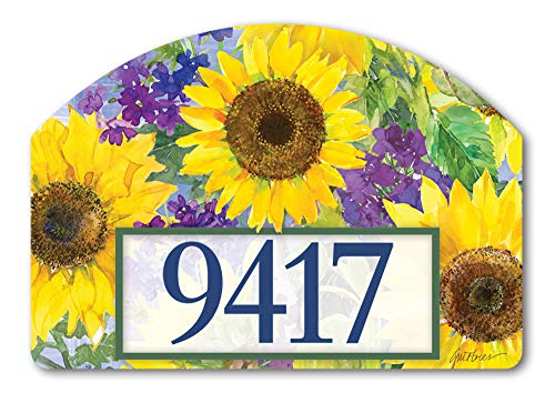 Yard DeSigns Studio M Sunflower Burst Spring Summer Floral Decorative Address Marker Yard Sign Magnet, Made in USA, Superior Weather Durability, 14 x 10 Inches