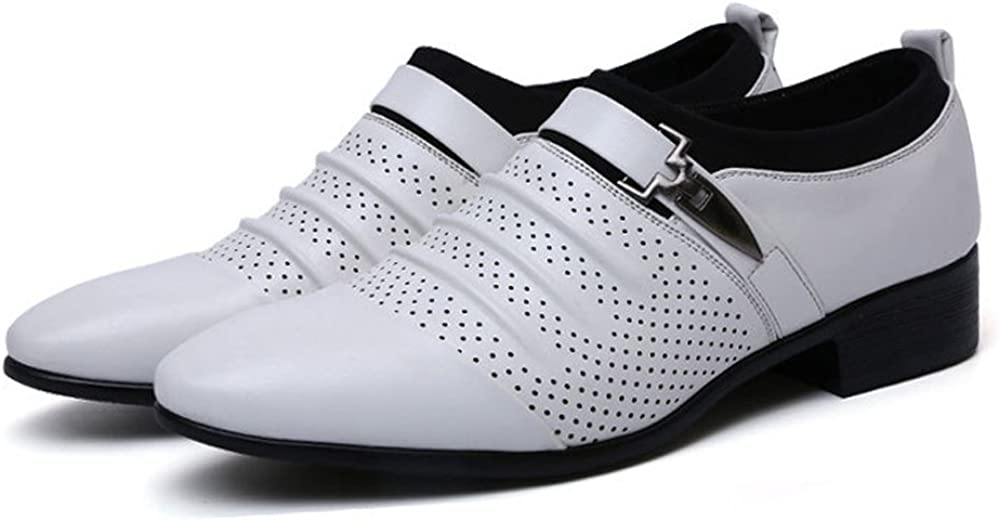 Elegdy Mens Pointed Toe Business Shoes Smooth PU Leather Splice Vamp Slip-on Breathable Shoes