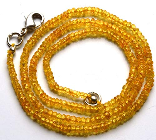 (GemAbyss Beads Gemstone 1 Strand Natural 16 Inches Natural,Super Rare Yellow Sapphire Rondelle Beads Necklace 2 to 3 MM Code-MVG-28782)