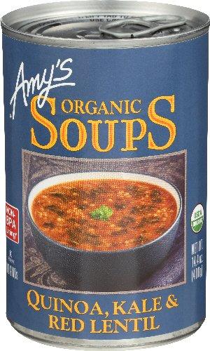 Amy's Organic Soups Quinoa Kale & Red Lentil, 14.4-ounce Cans (Pack of 12) (Kale Soup)
