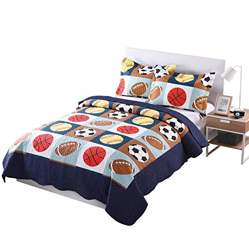 MarCielo 3 Piece Kids Bedspread Quilts Set Throw Blanket for Teens Boys Bed Printed Bedding Coverlet, Full Size, Blue Basketball Football Sports, American Football - Set Bed Inspired Bunk
