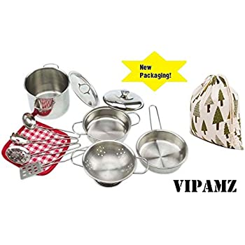 My First Play Kitchen Toys Pretend Cooking Toy Cookware Playset For Kids  11 Pieces Stainless Steel Pots And Pans With Cooking Utensils  Dishwasher  Safe
