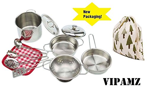 VIPAMZ My First Play Kitchen Toys Pretend Cooking Toy Cookware Playset for Kids 11-Pieces Stainless Steel Pots and Pans with Cooking Utensils -Dishwasher ()
