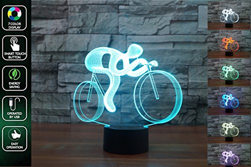 3D Visual Lamp Optical Illusion Led Night Light, Amazing 7 Colors Touch Sensitive Switch Lamps with Acrylic Flat, ABS Base, USB Charge for Home Decor, Bicycle (Amazing 3d Illusions)