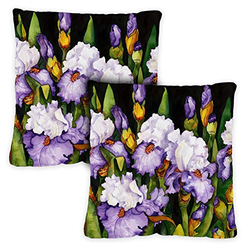 Toland Home Garden Decorative Blooming Irises Spring Summer Flower Floral 18 x 18 Inch Pillow Case (2-Pack) from Toland Home Garden