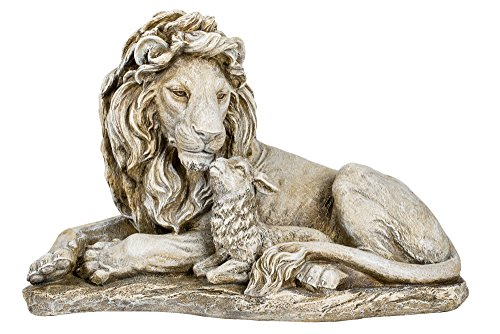 Joseph's Studio Lion and Lamb Large 20 Inch Grey Stone Finish Garden Statue (Lion Statues Concrete)
