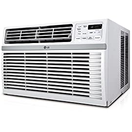 LG Energy Star Window Air Conditioner 147 2016 energy star 11.9 energy efficiency Ratio (EER). Auto Restart - Yes Uses standard 115V electrical outlet;Refrigerant R32 15,000 BTUs cools a room up to 800 sq. Ft