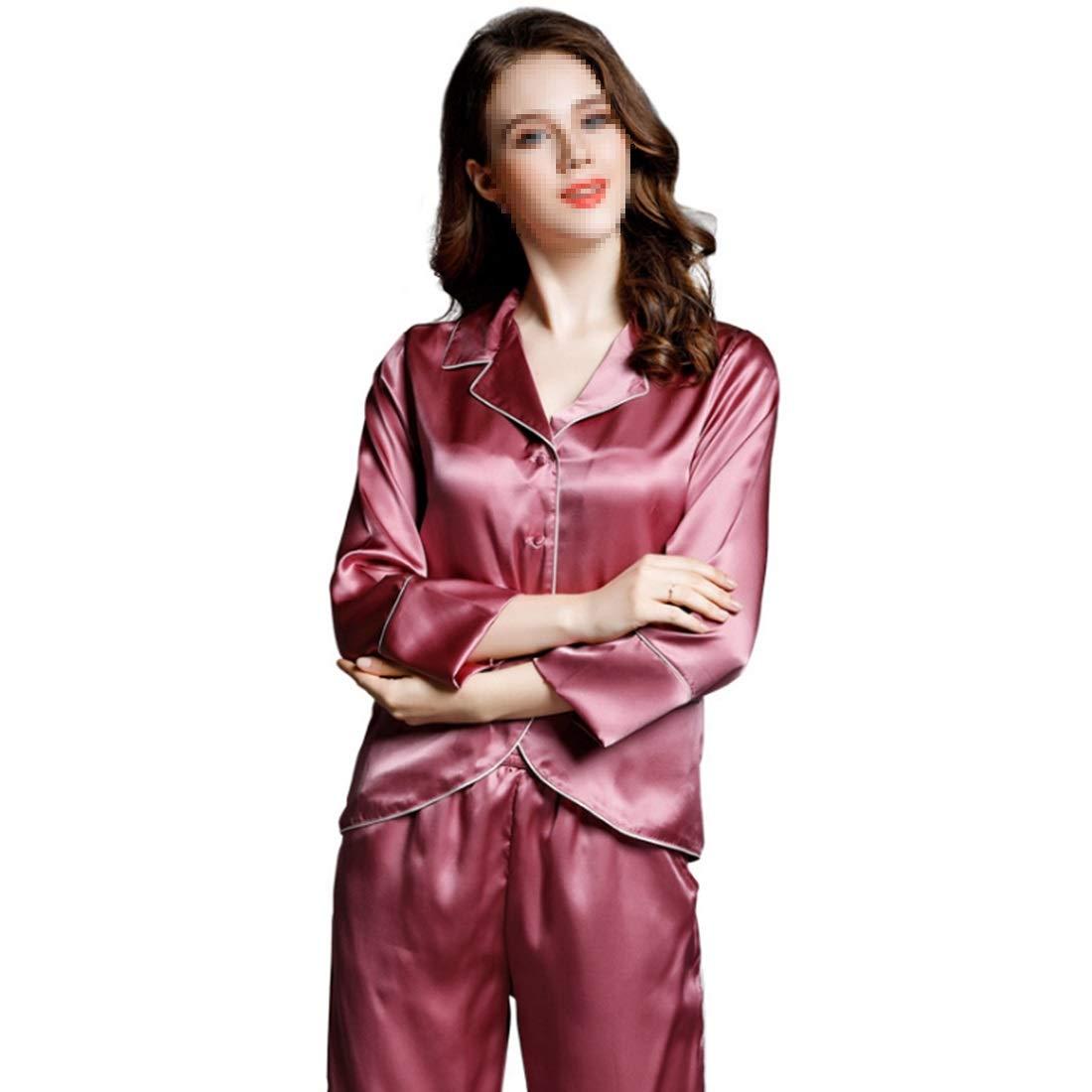 1 YUKILO Pajamas Women's Long Sleeve Sleepwear Soft Silk Pj Set LXXL (color   05, Size   XXL)