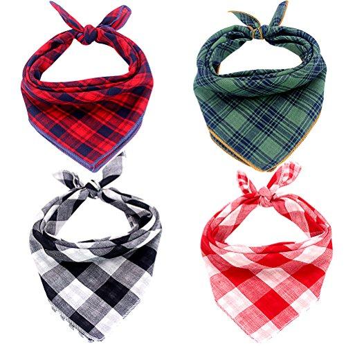 Mihachi Dog Bandanas - 4 Pack Bibs Scarfs, Plaid Washable Reversible Triangle Kerchief for Pets