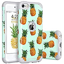 iPod 5 Case, iPod 6 Case, BENTOBEN Slim Thin Dual Layer [Pineapple Pattern Design] Hybrid Hard PC Back Cover Silicone Bumper Glossy Finish Drop Proof Anti-slip Scratch Resistant Protective Case for iPod Touch 5 6th Generation – Green/Gray